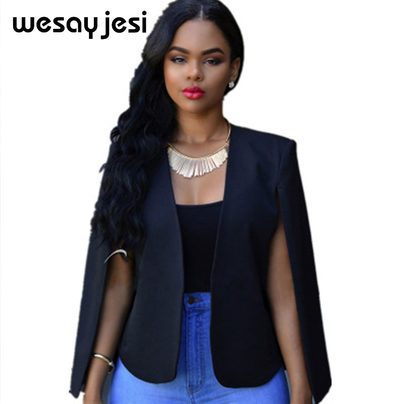 Blazer Feminino women coat Jacket solid 2018 Slim Business Women Suit Lapel Cape Poncho Office Cloak Blazer Fashion Autumn