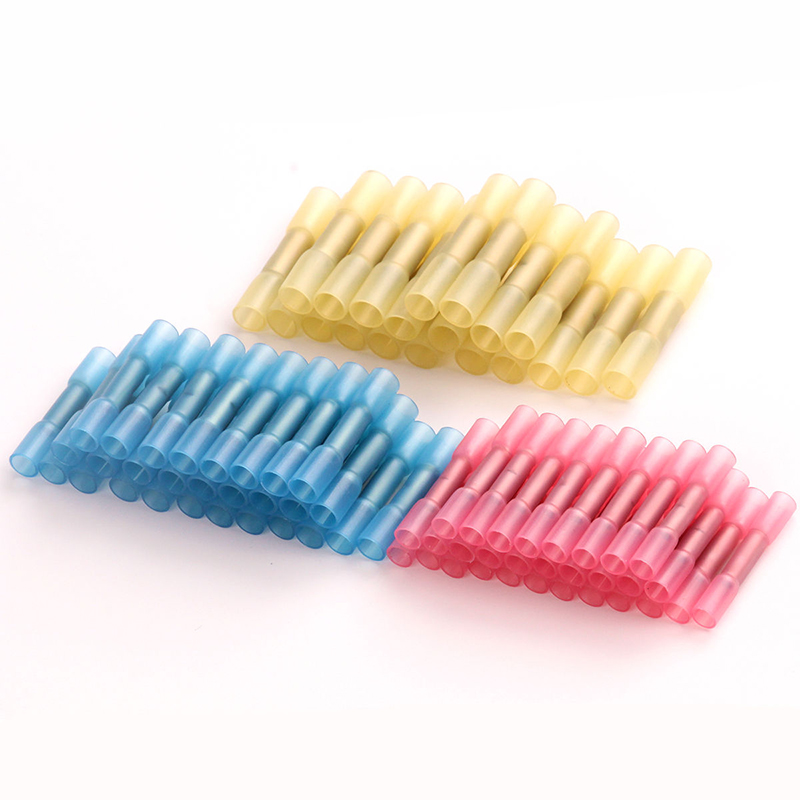 100pcs High Quality Heat Shrink Butt Crimp Terminals Wire Connectors 22-18 16-14 12-10 AWG Red Blue Yellow automotive connectors male cont stamped formed 14 16 awg nic 100 pieces