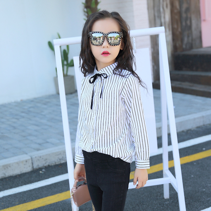 baby teenage girls striped blouses long sleeve cotton kids clothes black white shirts for little girls