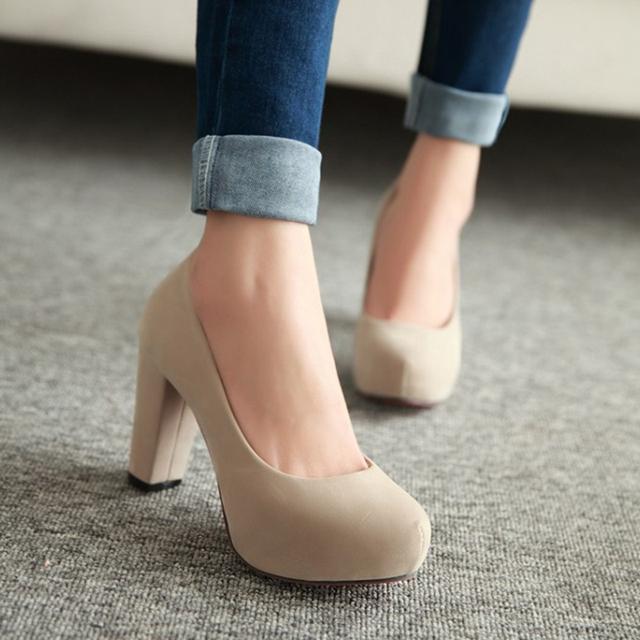 2017 primavera e no outono nova chegada dedo do pé redondo bombas de salto alto sapatos de plataforma das mulheres doces