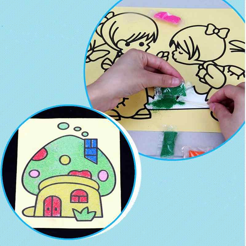 1PC Children Kids Drawing Toys Sand Painting Pictures Kid DIY Crafts Education Toy For Boys And Girls