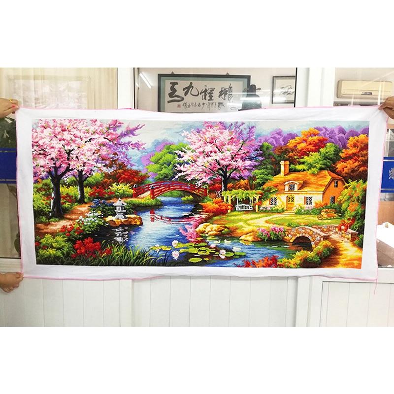 Kruissteek afgewerkt/kruissteek landschapsschilderkunst/Machine kruissteek afgewerkt Dream home-in Aida doek van Huis & Tuin op  Groep 1