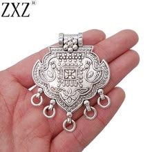 ZXZ, 2 шт., антикварное серебро, большое, богемное, в стиле бохо, люстра, ожерелье, соединители, подвески, ювелирное изделие, 62x50 мм