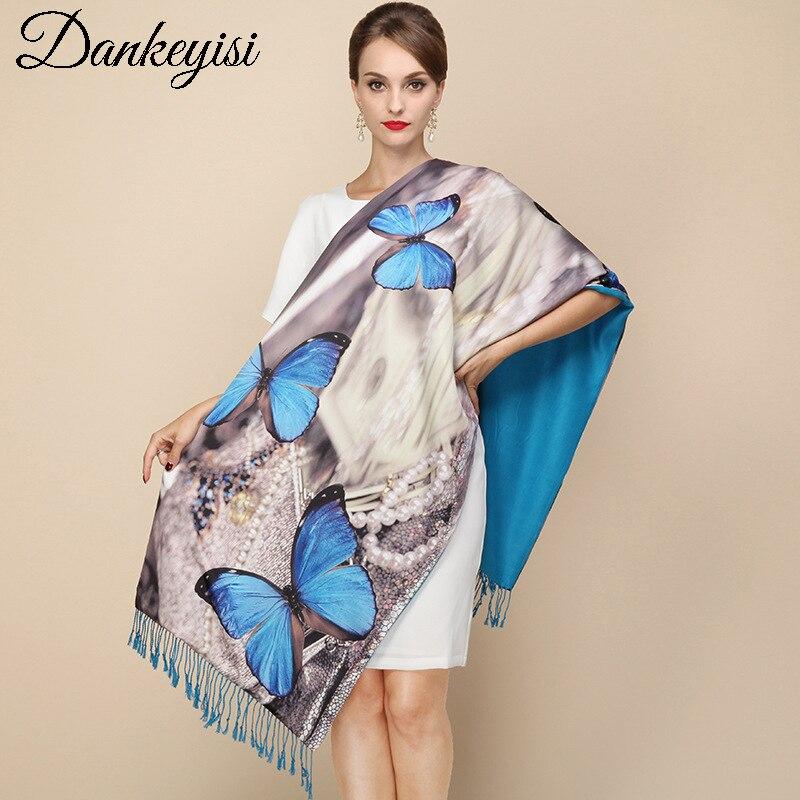 DANKEYISI 2017 Fashion Designer Long Tassels   Scarf   Women Pashmina   Wraps   Printed Real Silk Thick Autumn Winter Shawls Foulard
