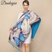 Dankeyisi Мода 2017 г. Дизайнерские Длинные Ленточки шарф Для женщин пашмины Обертывания печатных настоящий Шелковый толстые осень-зима платки
