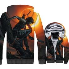 Shadow of the Tomb Raider 3D Print Hoodie Men Battlefield 3 Hooded Sweatshirt Winter Thick Fleece Warm Zip up Coat Movie Jacket цена и фото