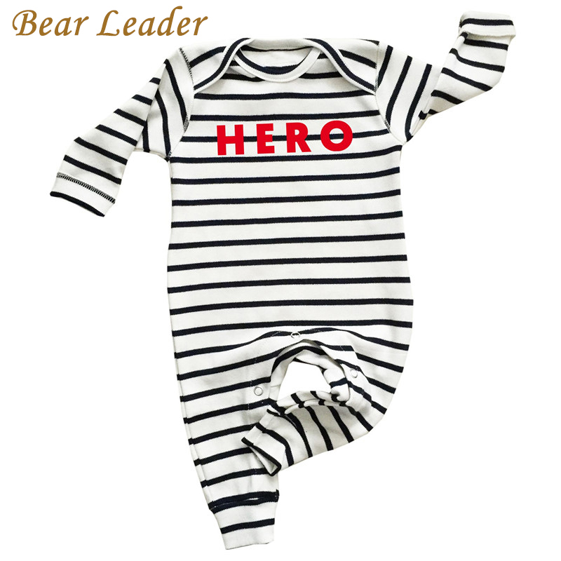 Bear Leader Baby Rompers Autumn Newborn Striped Baby Boy Clothes Long-sleeve HERO Letter Print Baby Jumpsuit Infant Suit Toddler warm thicken baby rompers long sleeve organic cotton autumn