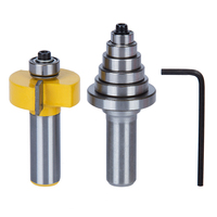 2Pcs Set Type T 5 Knife Bearing Combination Cutting Tenon Woodworking Milling Cutter Router Bit For