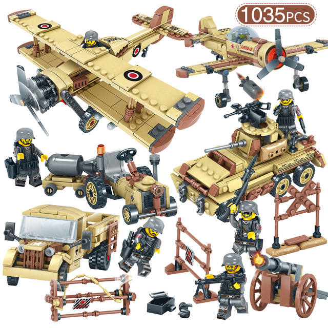 Military World War 2 SWAT Germany Car Plane Helicopter Tank Truck Building Blocks Figures Compatible with Legoed Army Bricks Toy