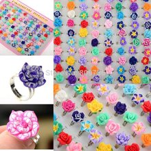CHIC Wholesale Lots 10pcs Colorful Rose Flower polymer clay Children Rings Adjustable size Kids Gift Drop Ship