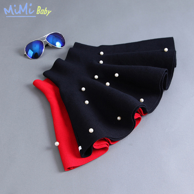 2017 Children's Clothing Tutu Pearl Skirt for Girl Baby Wool Knit Skirt Solid Red Black Kids Costume Cotto Ball Gown Pearl Skirt