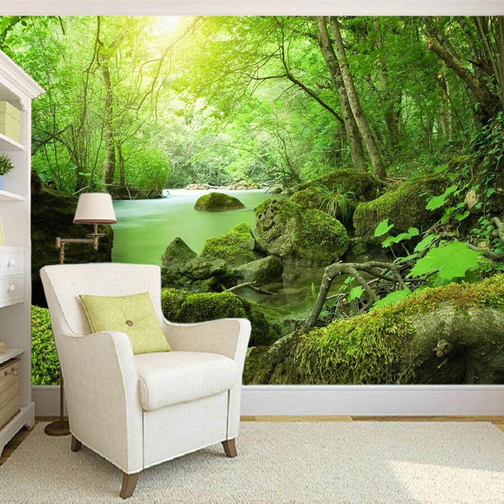 custom 3d photo wallpaper forest stones green landscape photography background backdrop modern. Black Bedroom Furniture Sets. Home Design Ideas