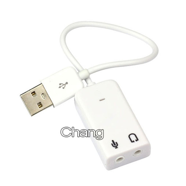 3D Hot Sale White 2.0 Virtual 7.1 Channel External USB Audio Sound Card Adapter Sound Cards For Laptop PC Mac With Cable