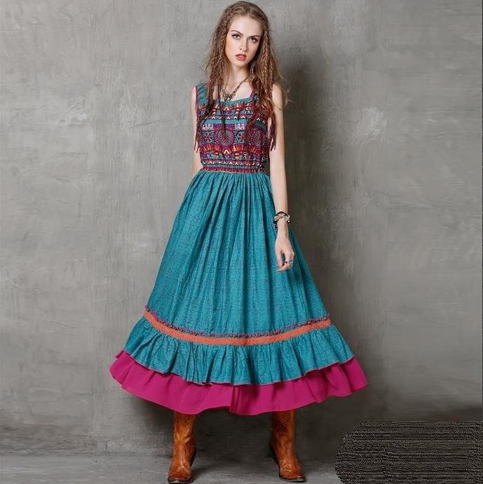 2019 Style National longue robe femmes été Boho Hippie Vintage gilet à volants danse balancement Maxi robe robe d'été robes