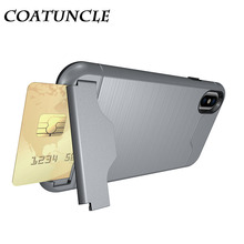 Phone Case For iphone X For Fundas iphone X Case Hard PC Soft TPU Anti Shock Impact Brushed Texture Stand Card Slot Back Cover