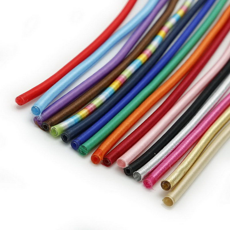 5x45cm 3pcs Soft Rayon Silk Jewelry Cord Hollow Rubber Cords For Jewelry Making Necklace Bracelet DIY Findings Craft Accessories