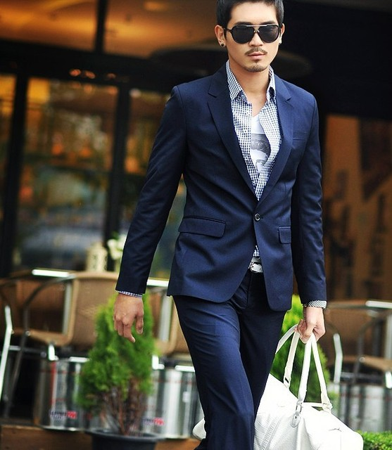 Men's clothing fashion slim casual navy blue suits male suit-in ...