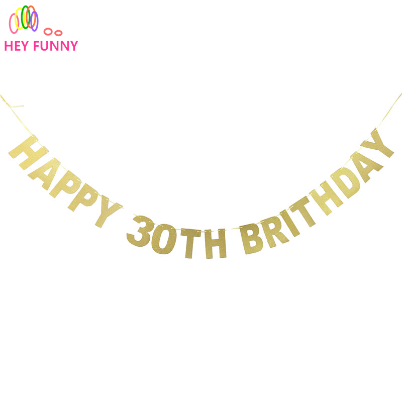 2017 Popular Gold/Black/Silver Glitter Happy 30th Birthday Banner Thirty Anniversary Party Decor 30 Birthday Party Decorations