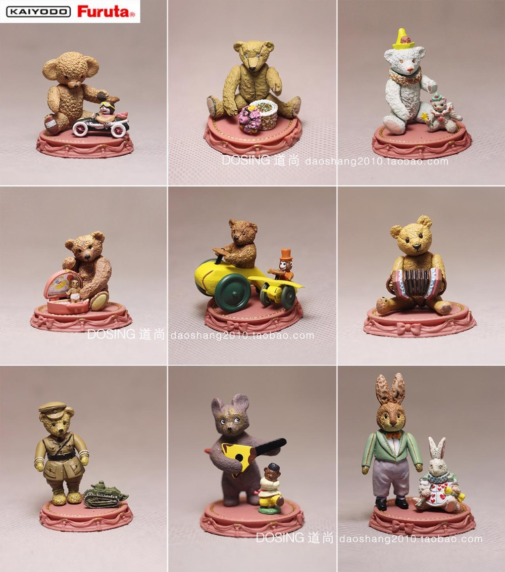 plastic movable junction figure 9pcs set antique Te ddy Bear Museum Christmas ornaments birthday gift