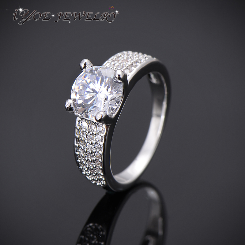 IYOE IYOE Shiny Crystal Engagement Wedding Rings For Women And Men New