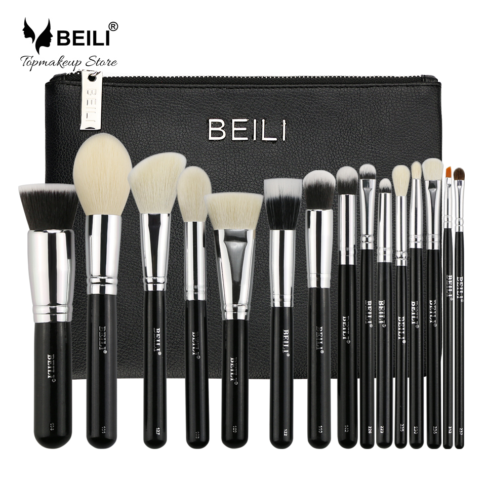 BEILI 15pcs Makeup brush set with bag Black Premium Goat hair Blending Big Powder Foundation blusher eye shadow Contour beili 12 pieces black premium goat hair synthetic powder foundation blusher eye shadow concealer makeup brush set cosmetic bag