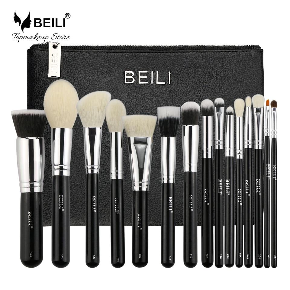 BEILI 15pcs Makeup brush set with bag Black Premium Goat hair Blending Big Powder Foundation blusher eye shadow Contour цена