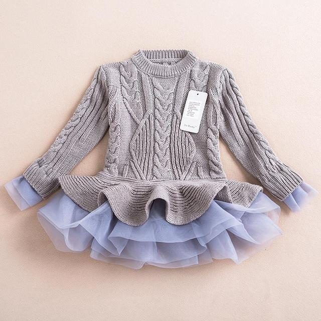 ae734b0e540 Kids Fashion Girls Knitted Sweater Dress Pullovers Sweaters Crinkle Lace  Shrugs Dresses Crochet sweater Autumn Winter outfit
