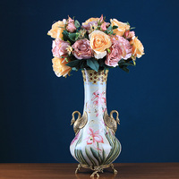 Luxurious A Pair Of Swans Copper Flower Inserted Ceramic Tabletop Vase Home Decoration Vase Fashion Retro Vases Home Decoration
