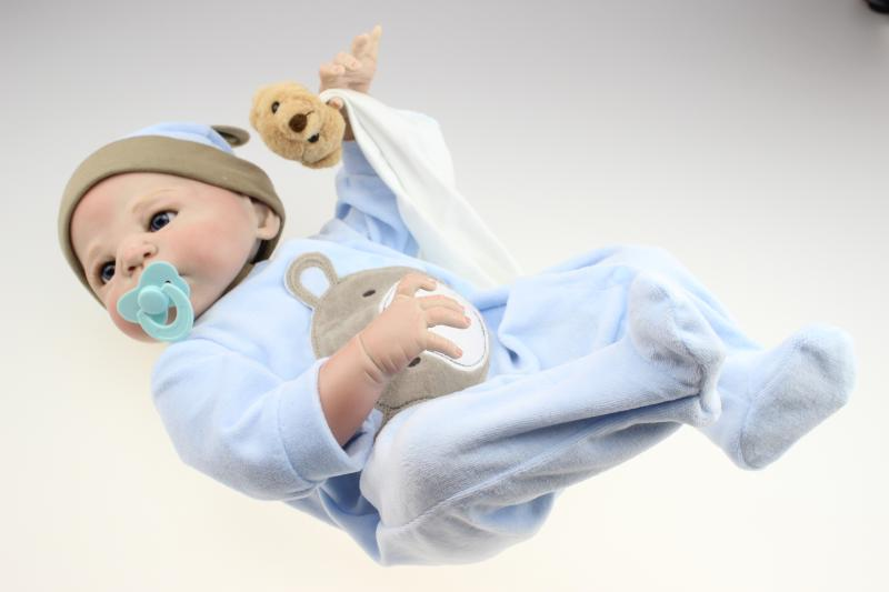 Nicery 22inch 55cm Bebe Reborn Doll Hard Silicone Boy Girl Toy Reborn Baby Doll Gift for Children Blue Clothes Bear Baby Doll nicery 22inch 55cm bebe reborn doll hard silicone boy girl toy reborn baby doll gift for children blue dino cloth hat baby doll