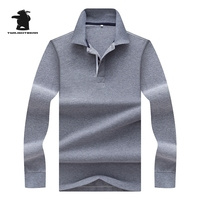 New Men S Long Sleeve Polo Shirts Fashion Pure Color 100 Cotton Plus Size Business Causal