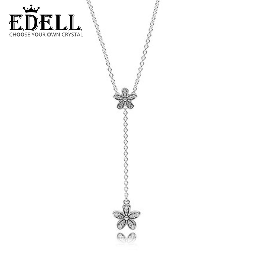 S925 Sterling Silver Sakura Flower Necklaces & Pendants Cherry Blossoms With Chain Choker Necklace Jewelry Collar Colar