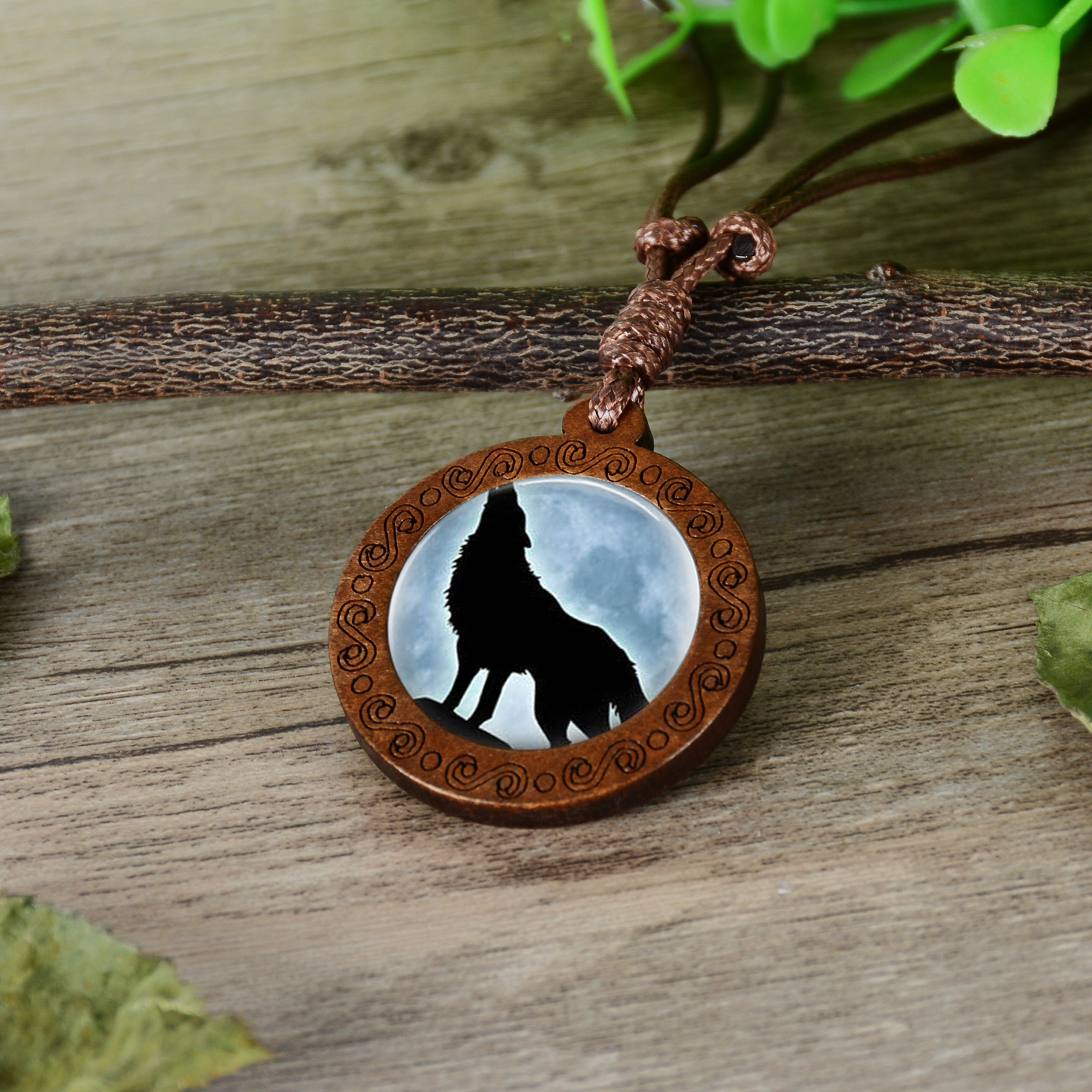 Wooden Glass Cabochon Necklace Wolf and Moon Pendent & Chain CLOVER JEWELLERY