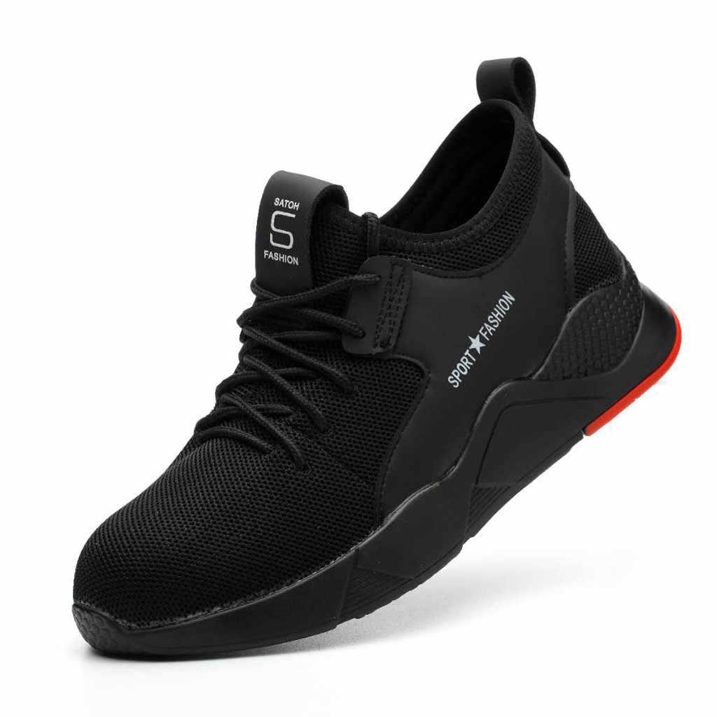 MUQGEW Unisex Sneakers Mens Women Work Steel Safety Shoe Toe Caps Hiking Walking Running Sneakers Zapatillas Hombre Femme Casual