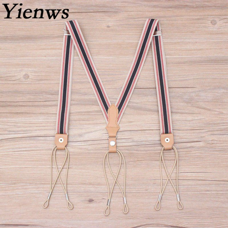 Yienws Men Suspenders Braces Vintage Weastern Style Trousers Brace Strap Mens Elastic Belts Suspenders for Pants 115cm YiA151