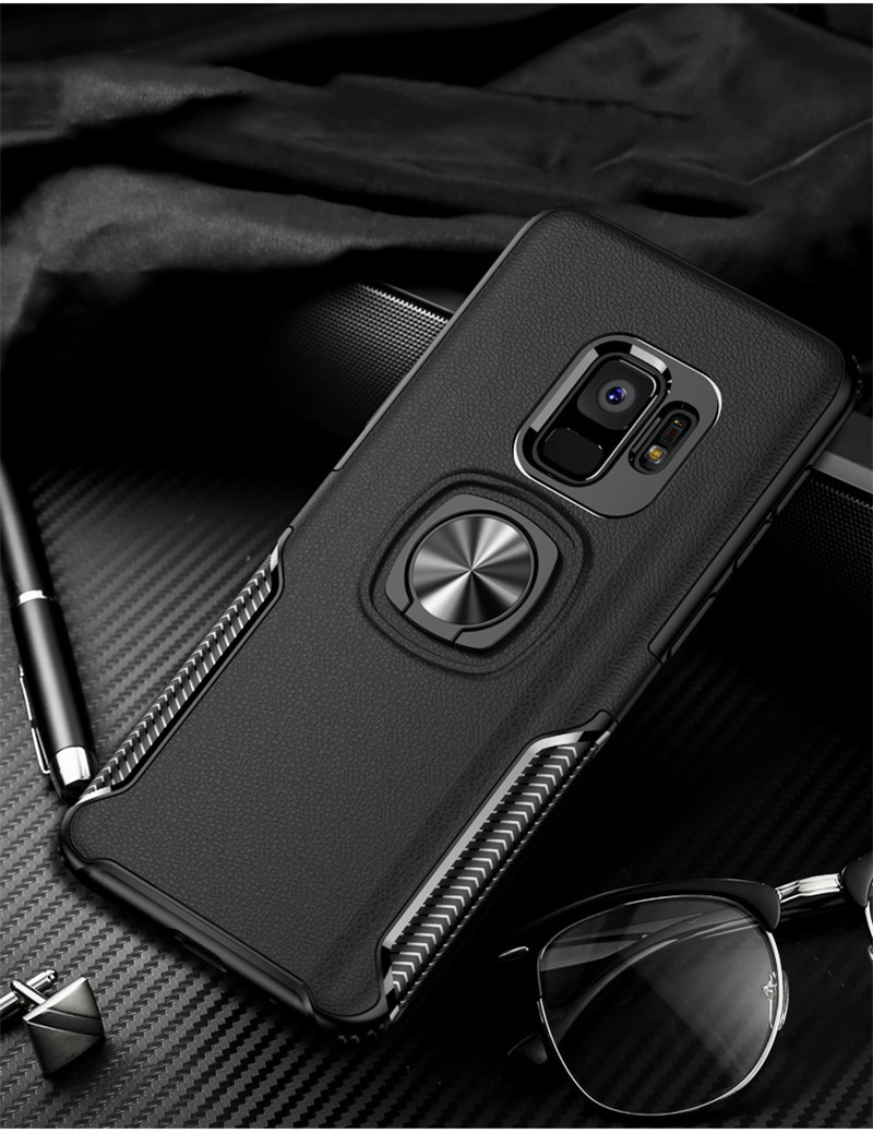 HTB1DIYNaEzrK1RjSspmq6AOdFXaj Leather Texture Stand Case For Samsung Galaxy S9 S8 S10 Plus Note 10 9 8 Ring Holder Magnetic Armor Cover For J4 J6 J8 A8 2018