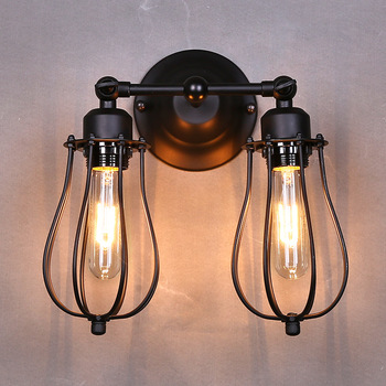 American Industrial Vintage Creative Retro Iron Wall Lamp Loft Style Simple Cage Bathroom Aisle Decoration Light Free Shipping