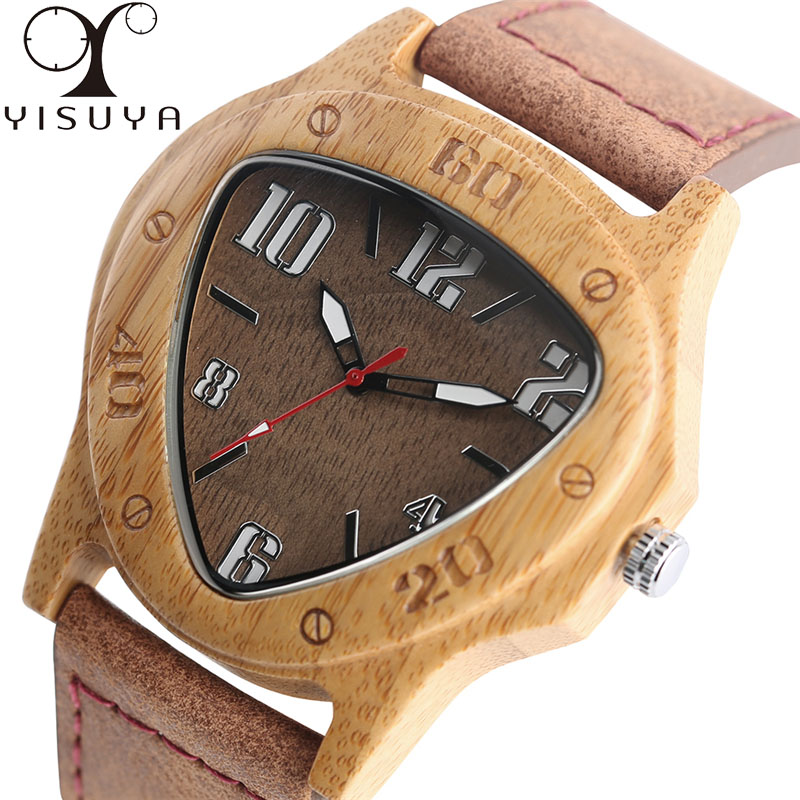 YISUYA Mens Creative Triangle Wooden Wrist Watch Quartz Novel Nature Bamboo Wood Watches Genuine Leather Band Male creative wooden bamboo wrist watch genuine leather band strap nature wood men women quartz casual sport bangle new arrival gift