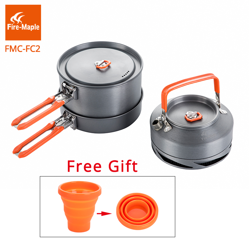 Fire Maple Outdoor Camping Cookware Set Backpacking Picnic 2 Pots 1 Frypan 1 Kettle Compact Foldable FMC-FC2 Brand Cooking Set fire maple fmc 215 8l outdoor pot picnic cooking cookware hanging kettle