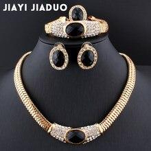 5e0825fc2e0d Jiayijiaduo boda caliente vestido Accesorios negro cristal collar  pendientes oro color joyería de perlas establece nuevas mujere.