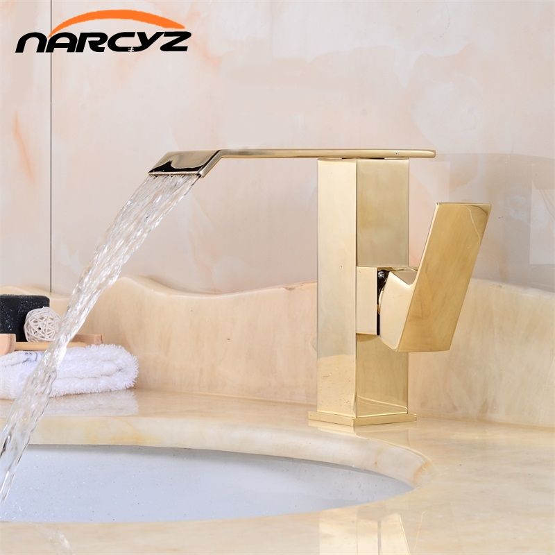 Hot Sale Waterfall Bathroom Golden Faucet Single Handle Vanity Sink Mixer Tap Deck Mount XT830 deck mount single handle hot