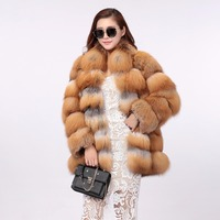 2018 Luxury Deisgn Real Red Fox Fur Women Coats Thick Winter Genuine Female Natural Fox Fur Down Coat Outerwear Natural Jackets