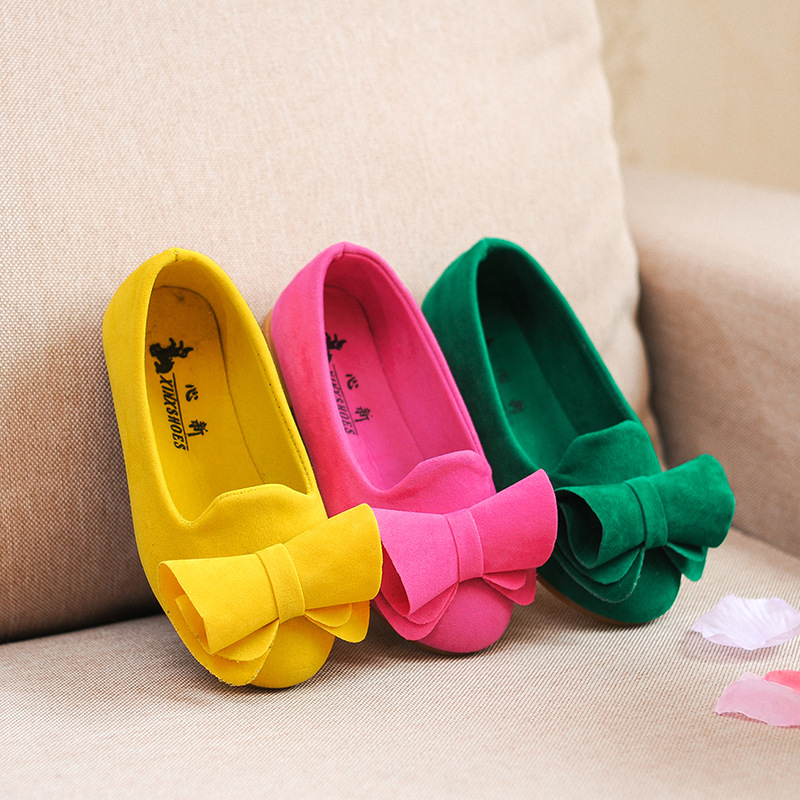 AFDSWG Spring And Autumn Bow Low Heel Yellow Shoes For Girls Green Casual Sneakers Kids Rose Red Children Shoes For Girls