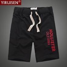 Envío gratis Shorts hombres 100% algodón bordado Casual longitud afilada corto masculino con bolsillo en el lateral Cordón