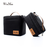 Winmax Factory Outlet Black Insulated Lunch Bag Box Sets Protable Food Safe Big Container Thermal Picnic