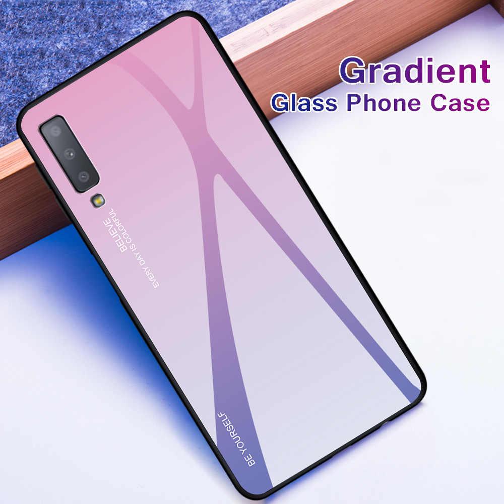 Luxo vidro temperado caixa do telefone para samsung galaxy a7 2018 a10 a20e a30 a40 a50 a60 a70 m10 m20 m30 a5 a7 2017 a6 a8 mais capa