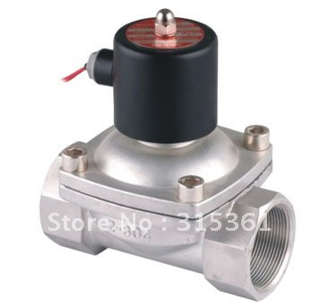 цена на Free Shipping 2PCS/LOT 2 50mm Stainless Steel Normally Closed 2 Way VITON Solenoid Valve Oil Acid DC12V