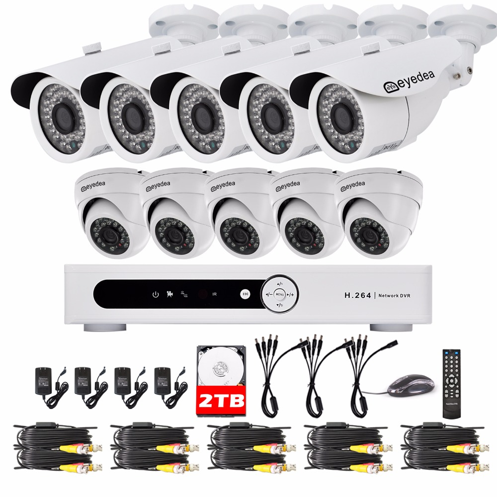 Eyedea 16 CH Video DVR HVR 1080P White Bullet Dome Outdoor Indoor LED Night Vision CCTV Security Camera Surveillance System 2TB zosi 1080p 8ch tvi dvr with 8x 1080p hd outdoor home security video surveillance camera system 2tb hard drive white