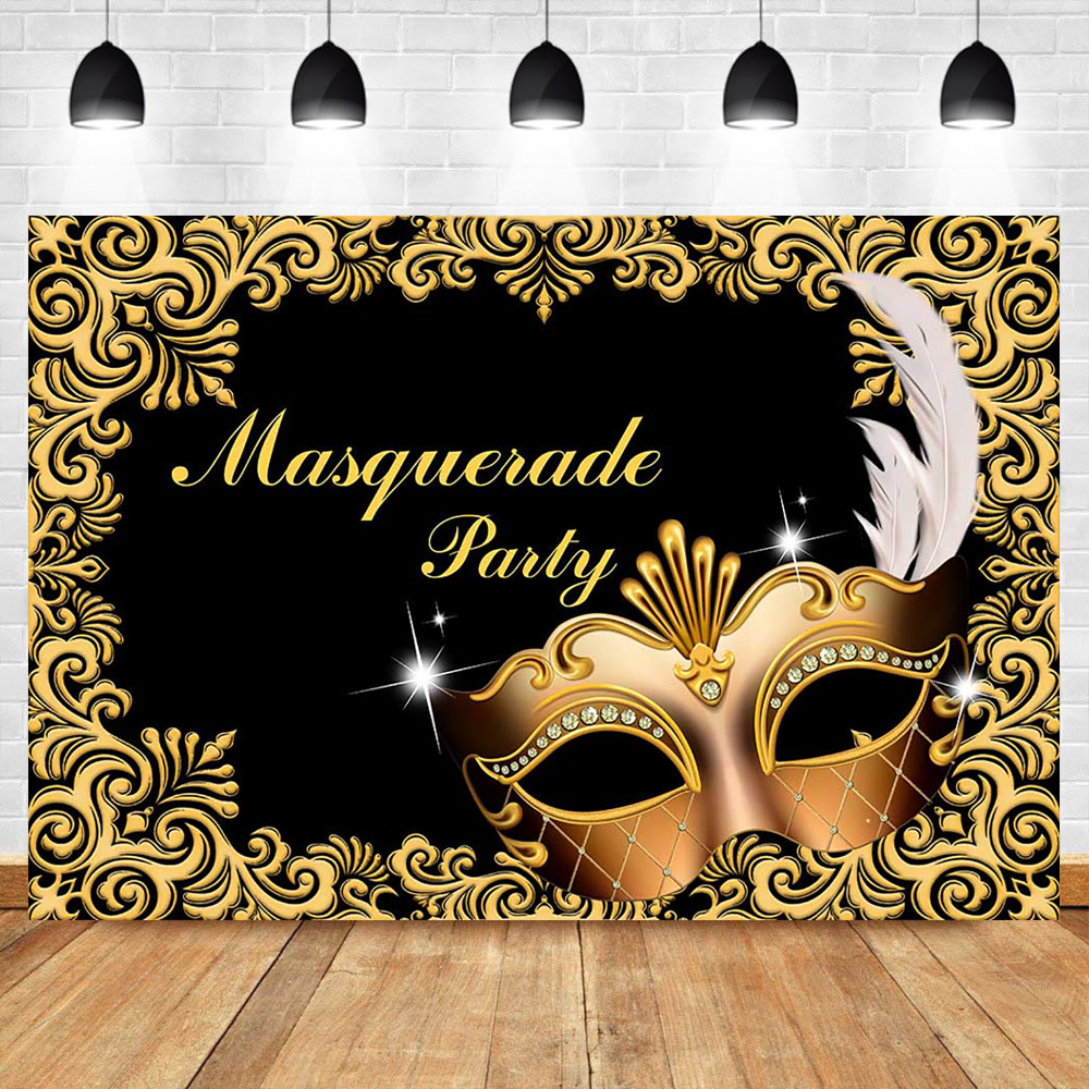 Champagne Gold Masquerade Ball Party Mask With Sequins Diamante Jewel