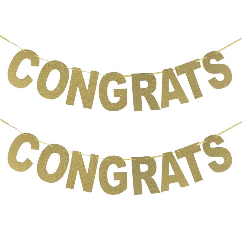 1 set congrats banners glitter letters paper festive party