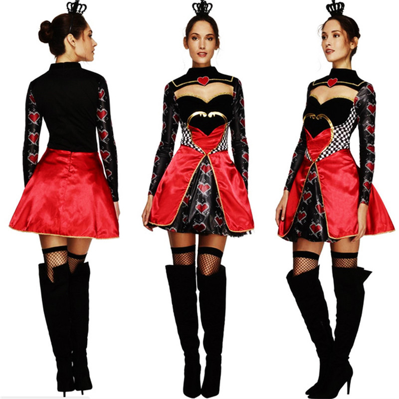 2018new high quality Queen of Hearts costume Alice In Wonderland Cosplay Dress Poker Queen clothing Halloween Costumes For Women